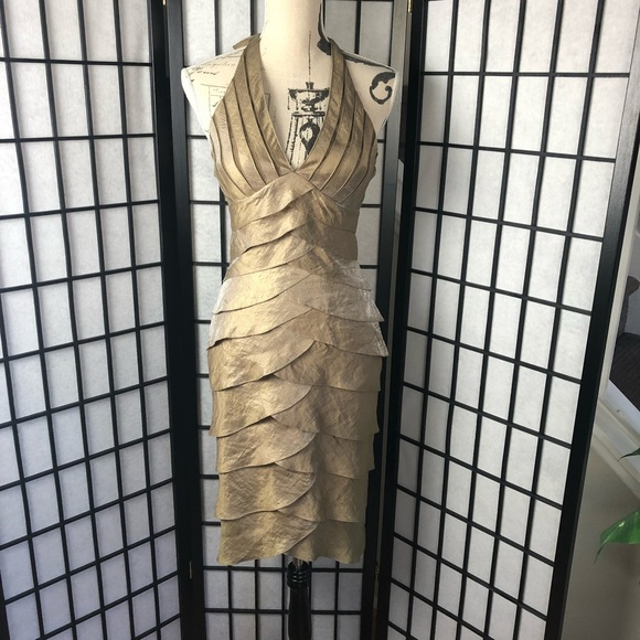 Cache Dresses & Skirts - GUC Cache gold halter dress